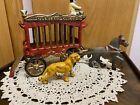 OVERLAND CIRCUS Cast Iron Horse-Drawn Wagon Tiger & Driver, 4 piece set. Vintage