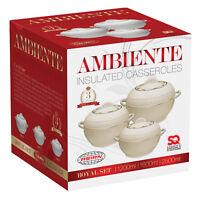 3pc Hot Pot Set Food Warmer Serving Insulated Casserole Pan Dish Bowl Cream AMB