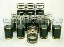 New listing Set of 16 MiD Century Culver Green Marble Gold 12oz 14oz CocktaiL Glasses *Devon