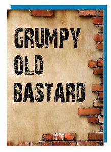 Funny Rude Fathers Day / Birthday Card - Grumpy Old Bastard (Brick Design)