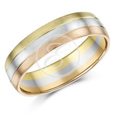 9ct Gold 3 Colour Court Shape Wedding Ring Band 6mm 9k