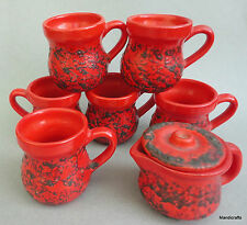 Laurentian Pottery 6 Mug 1 Creamer Set Red Fat Lava c1970s LP Stamp 8oz Canada