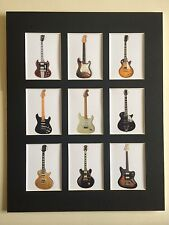 """CLASSIC GUITARS 14"""" BY 11""""  PICTURE MOUNTED READY TO FRAME BEATLES PINK FLOYD"""