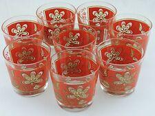 VINTAGE LIBBEY GLASS SET 8 RED GOLD FLORAL ROCK/BRANDY/BOURBON OR WATER BARWARE