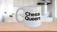 Chess Queen Mug White Coffee Cup Funny Gift for Gamer, Grandmaster, Player,
