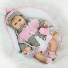 """Reborn Doll Lifelike Silicone Vinyl 17"""" Knit Wear Cute Newborn Baby Huggable Toy"""