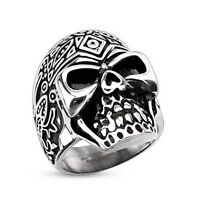 Stainless Steel Decorated Dead Sugar Skull Biker Wide Cast Ring Band Size 9-15