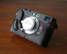 Mr.Zhou Black Leather Half Case Red Stitch for Minolta CLE Camera Leica M mount