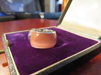 Großer 925 Silber Ring Massiv Schwer Breit Rosa Stein Sterling Modern Designer