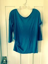 Free People, 'We the Free' Teal 3/4 Sleeve, Scoop Back, Ruched Knit Top, Size S