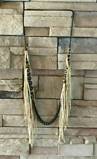 Annie Costello Brown ACB Leather Fringe Necklace
