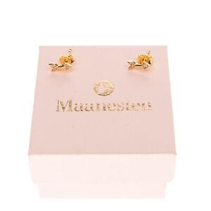 MAANESTEN Gold Plated 925 Sterling Silver Arrow Stud Earrings Butterfly Closure