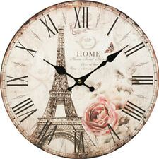 34cm Eiffel Tower Wall Clock Printed MDF Boards Timber Rustic Art Sculpture 022