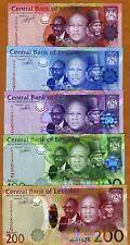SET Lesotho, 10;20;50;100;200 Maloti, 2010-2015 P-New, UNC