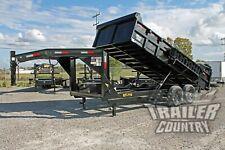 New 7 X 16 14K Gvwr Full Power Hydraulic Gooseneck Dump Trailer Equipment Hauler