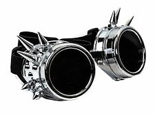 Silver Spike  goggles cyber punk biker gothic rave cosplay aviator Burning Man