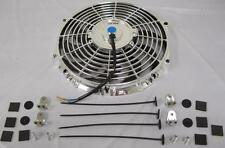"""12"""" Universal Chrome S-Blade Curved Electric Radiator Cooling Fan + Mounting Kit"""