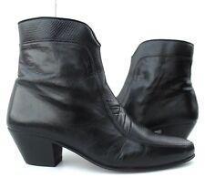 VTG Booties Ankle Boot Western Cowboy Handmade Black Leather Zip Spain Women 9 M