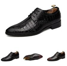 Men Business Pointy Toe Oxfords Alligator Print Retro Dress Formal Leather Shoes