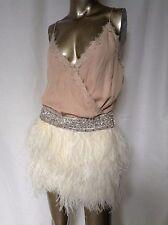 NWT Haute Hippie Nude Hue Feather Beaded Mini Dress 100% Silk S RARE $1095.00