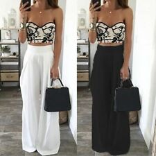 Fashion Women Wide Leg Pants High Waist Pants Loose Long Chiffon Harem Trousers