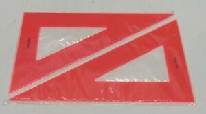 """Set of 2 LUTZ 10"""" Fluorescent Orange 30/60/90° Drawing Drafting Triangle"""