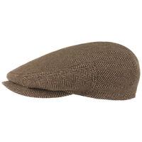 STETSON Baumwolle Seide Flatcap Schirmmütze Seidenmütze Herrenmütze braun 57 cm