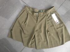 CHIC  RALPH LAUREN  Olive Green Silky CITY Shorts Culottes Size Uk 12 £90