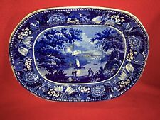 Historical Staffordshire Dark Blue Well And Tree Platter Windsor Castle Ca. 1825