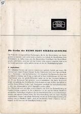 Zeiss Ikon Broschüre - Nachrichten für den Stereo-Freund