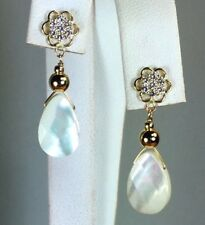 14k solid y/gold teardrop 12x8x4mm natural Mother of Pearl earrings screw back
