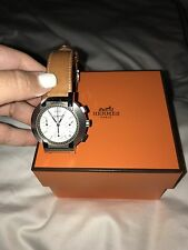 Hermes Watch Men's S/S Chrono Nomad White Dial Tan Strap Folding Buckle-Quartz