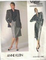 1755 Vintage Vogue Sewing Pattern Misses Jacket Skirt Blouse Anne Klein 14 Uncut