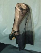 Flattering VTG Jet Black Gigi Seamless Run Resist Micromesh Stockings~9.5-33""