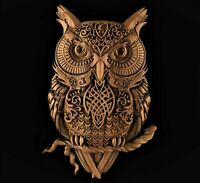 Owl celtic 3d model relief for cnc router in STL file format clock