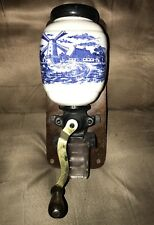 Antique Wall Mounted Coffee Bean Grinder Blue White Dutch Windmill Wood Base
