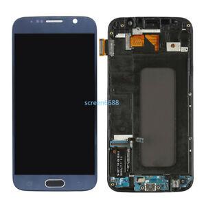 Für Samsung Galaxy S6 G920F LCD Display Touch Screen Digitizer+Rahmen Dark Blue