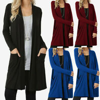 Womens Open Front Fly Away Cardigan Sweater Long Sleeve Plus Pockets Coat USA