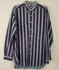 Tommy Hilfiger Vtg button down long sleeved blue striped men shirt size L