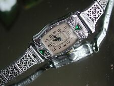 1929 Ladies Art Deco Emerald Bulova Watch ~ Doris ~ Filigree Band