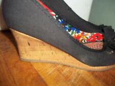 Dexflex Comfort for payless Black Peep toe cork wedge shoes size 7.5