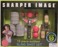 SHARPER IMAGE 10 PIECE OUTDOOR SLING SHOT SET LAUNCHES BALLS UP TO 50 FT AGE 8+