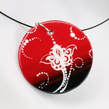 Handmade Painted Ceramic Necklace Pendant Round on round steel wire