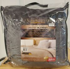 QUEEN Size Channeled Velvet Plush Electric Heated Blanket - GRAY - 2 Controls