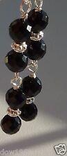 BLACK ONYX DROP EARRINGS 925 STERLING SILVER HOOK FINE JEWELLERY