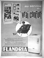 PUBLICITÉ DE PRESSE 1959 FLANDRIA RÉFRIGÉRATEUR ET MACHINE A LAVER VRAI CONFORT