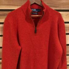 Mens Orange Polo Ralph Lauren WOOL Angora Rabbit Hair ½ Zip Sweater L