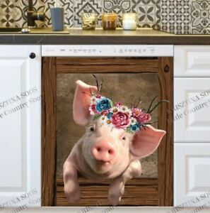 Kitchen Dishwasher Magnet Cover - Cute Piglet in the Farmhouse Window