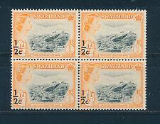 SWAZILAND 1961 DEFINITIVES SG65 ½c on ½d (MINE) BLOCK OF 4 MNH