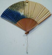 "7-3/4"" Japanese Cranes Folding Hand Fan Blue Tan"
